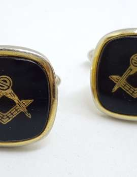 Vintage Costume Gold Plated Cufflinks - Square - Black Masonic