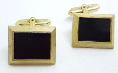 Vintage Costume Gold Plated Cufflinks - Square - Black