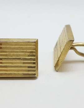 Vintage Costume Gold Plated Cufflinks – Rectangular - Line Design