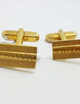 Vintage Costume Gold Plated Cufflinks – Rectangular - Patterned
