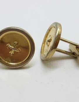 Vintage Costume Gold Plated Cufflinks – Round - Button Look