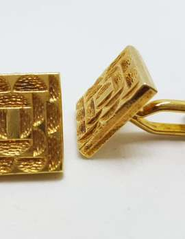 Vintage Costume Gold Plated Cufflinks – Square - Patterned