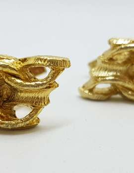 Vintage Costume Gold Plated Cufflinks – Weave Design