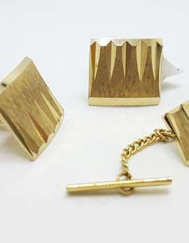 Vintage Costume Gold Plated Cufflinks & Tie Pin Set - Square