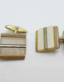 Vintage Costume Gold Plated Cufflinks - Square - Mother of Pearl
