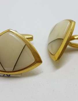 Vintage Costume Gold Plated Cufflinks - Triangular - White