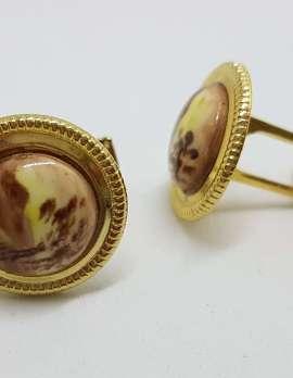 Vintage Costume Gold Plated Cufflinks - Round