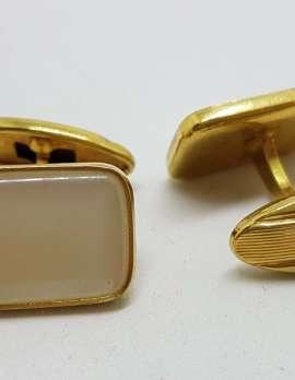 Vintage Costume Gold Plated Cufflinks - Rectangular - White