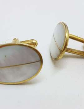 Vintage Costume Gold Plated Cufflinks - Oval - Mother of Pearl