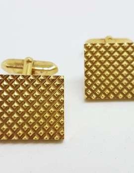Vintage Costume Gold Plated Cufflinks - Rectangular - Patterned