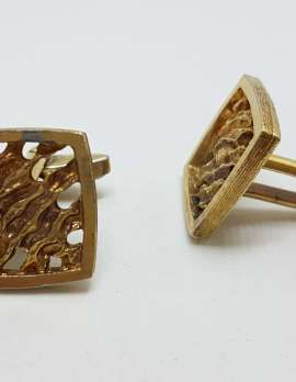 Vintage Costume Gold Plated Cufflinks - Square - Open Lines Pattern