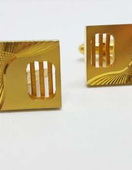 Vintage Costume Gold Plated Cufflinks - Line and Curve Design