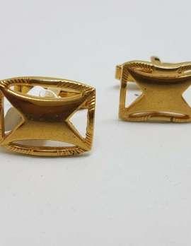 "Vintage Costume Gold Plated Cufflinks - Rectangular - "" X "" Design"