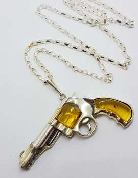 Sterling Silver Large Natural Baltic Amber Gun / Revolver / Pistol Pendant on Long Silver Chain - Light Colour