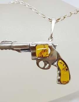 Sterling Silver Medium Natural Baltic Amber Gun / Revolver / Pistol Pendant on Long Silver Chain - Light Colour