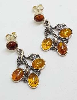 Sterling Silver Natural Baltic Amber Leaf Design Cluster Drop Earrings