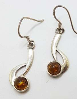 Sterling Silver Natural Baltic Amber Curved Drop Earrings