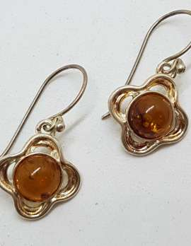 Sterling Silver Natural Baltic Amber Round Drop Earrings