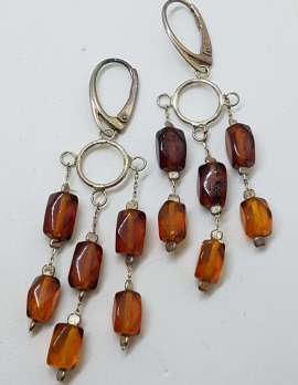 Sterling Silver Natural Baltic Amber Bead on Long Chains Drop Earrings - 3 Row