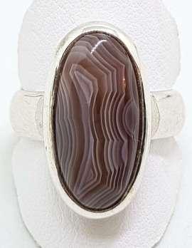 Sterling Silver Oval Bezel Set Agate Ring