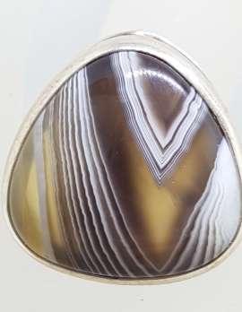 Sterling Silver Large Triangular Shape Bezel Set Agate Ring