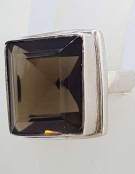 Sterling Silver Large Square Bezel Set Smokey Quartz Ring