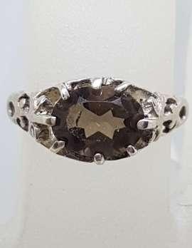 Sterling Silver Oval Ornate Filigree Claw Set Smokey Quartz Ring