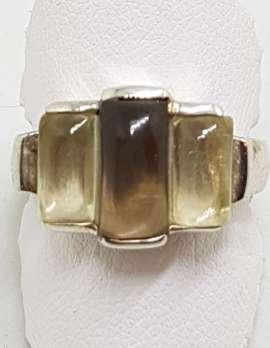 Sterling Silver Rectangular Cabochon Cut Light and Dark Smokey Quartz Ring