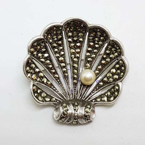 Sterling Silver Vintage Marcasite Brooch - Large Shell with Pearl