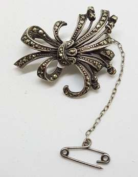 Sterling Silver Vintage Marcasite Brooch - Spray