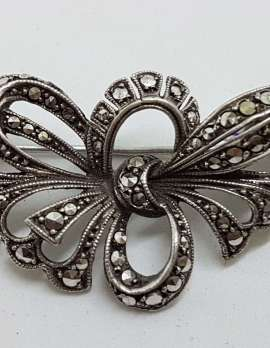 Sterling Silver Vintage Marcasite Brooch - Large Ornate Bow