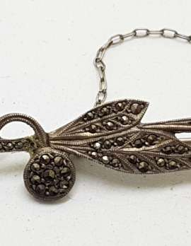 Sterling Silver Vintage Marcasite Leaf on Bar Brooch
