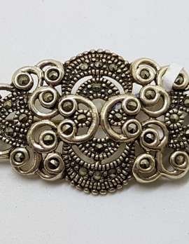 Sterling Silver Vintage Marcasite Brooch – Ornate