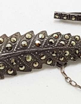 Sterling Silver Vintage Marcasite Brooch – Leaf
