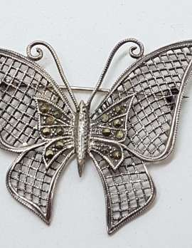 Sterling Silver Vintage Marcasite Brooch – Very Large Ornate Filigree Butterfly