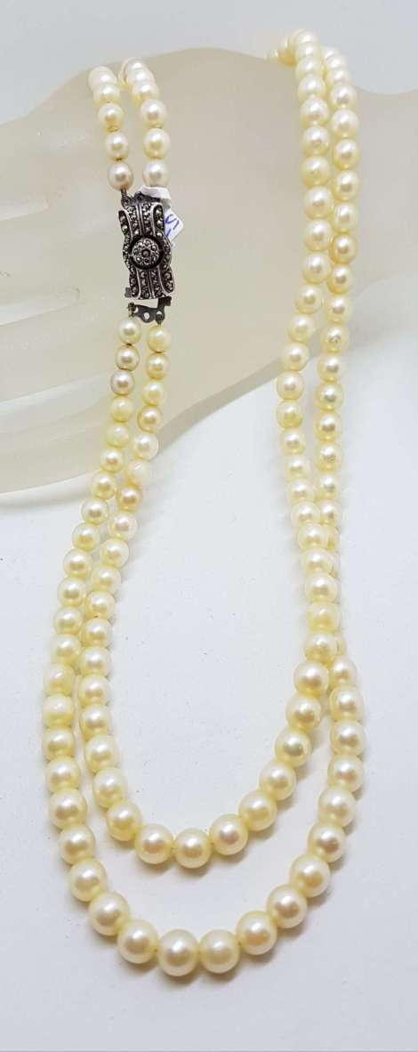 Sterling Silver Vintage Marcasite Clasp on Double Strand Pearl Necklace