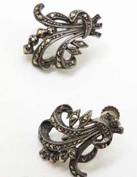Sterling Silver Vintage Marcasite Screw-On Earrings - Ornate Spray
