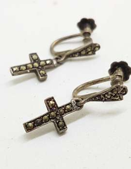 Sterling Silver Vintage Marcasite Screw-On Earrings - Long Cross / Crucifix Drop