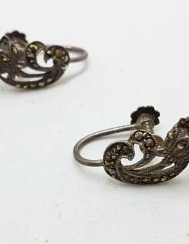 Sterling Silver Vintage Marcasite Screw-On Earrings - Curved Flower
