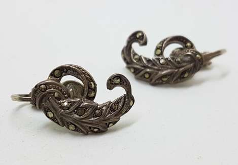 Sterling Silver Vintage Marcasite Screw-On Earrings - Curved Leaf