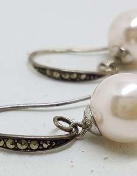 Sterling Silver Vintage Marcasite Earrings - Long Faux Pearl