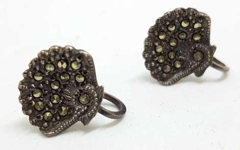 Sterling Silver Vintage Marcasite Screw-On Earrings - Fan