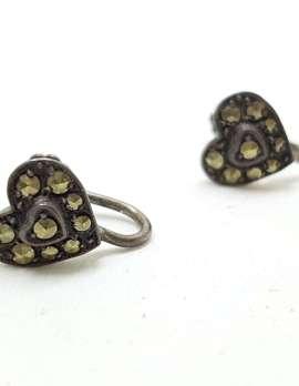 Sterling Silver Vintage Marcasite Screw-On Earrings - Heart