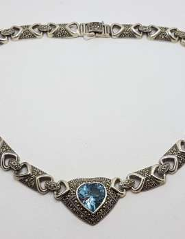 Sterling Silver Topaz and Marcasite Love Heart Collier Choker Necklace Chain