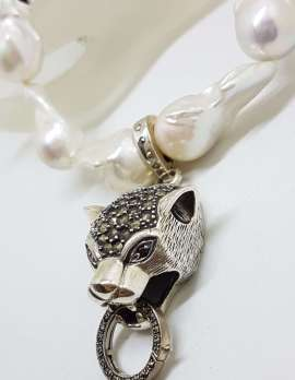 Sterling Silver Large Marcasite Puma / Cat / Panther / Leopard Head Enhancer Pendant on Thick White Baroque Pearl Chain / Necklace