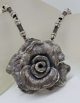 Sterling Silver Very Large Marcasite Rose Flower Pendant on Heavy Silver Marcasite Chain / Necklace