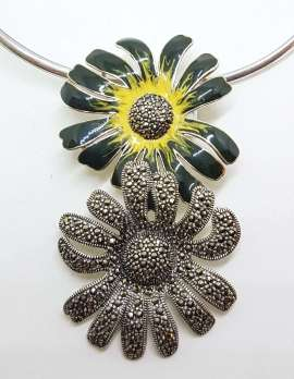 Sterling Silver Marcasite and Enamel Large Flower Pendant on Silver Choker