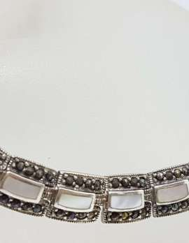 Sterling Silver Marcasite and Mother of Pearl Collier Chain / Necklace