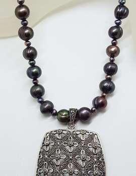 Sterling Silver Large Ornate Filigree Rectangular Marcasite Enhancer Pendant on Black Pearl Chain / Necklace