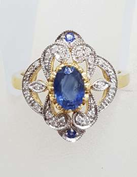 9ct Yellow and White Gold Natural Sapphire with Diamonds Ornate Filigree Ring